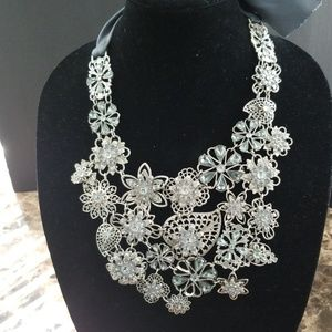 Beautiful silver and light blue crystal necklace